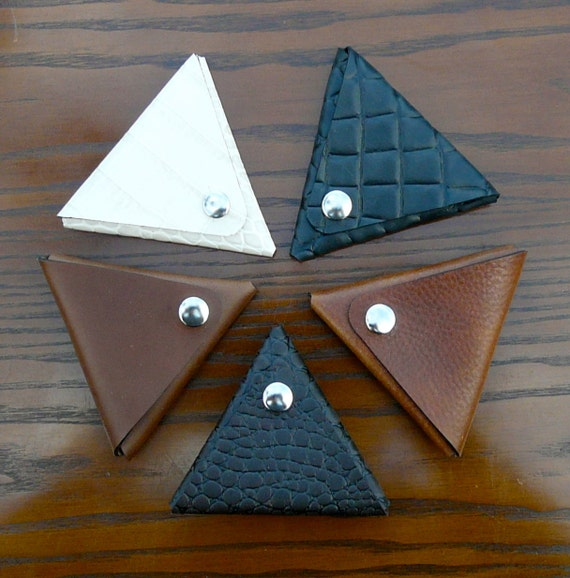 Real leather triangle coin purse - Misc. leathers