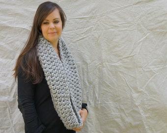 Chunky Infinity Scarf, crochet, cowl, neckwarmer, hood, knit / The Spitzvig warmer- grey marble