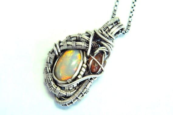 Opal Necklace Made with Fine Silver Wire, Wire Wrapped, Futuristic - Wattson