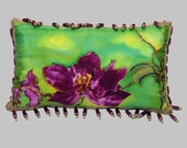 PURPLE ORCHID SILK  Pillow with down insert