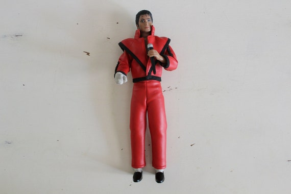 vintage michael jackson thriller red suit black shoes silver