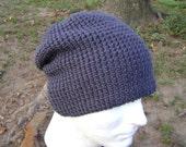 Crochet Hat Charcoal Gray Slouchy Beanie Skullcap  Men  Women  Teen