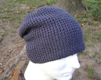 Crochet Hat Charcoal Gray Slouchy Beanie Skullcap  Men  Women  Teen
