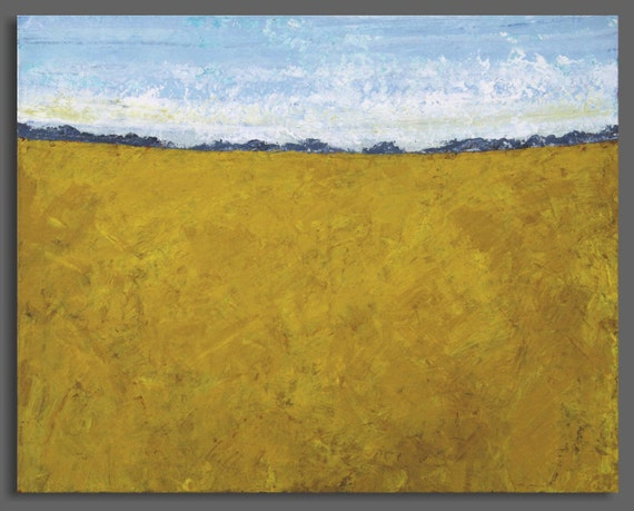Large Abstract Prairie Landscape Painting - Harvest (24x30) Original Acrylic Painting