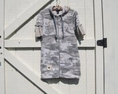 Camo hoodie tunic, mini hoodie dress, Boho Camouflage dress, Funky camo mini, cowgirl tunic dress, medium Ready to ship