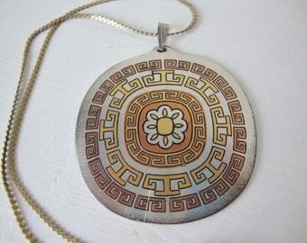 Vintage Reed & Barton Damascene Pendant Necklace