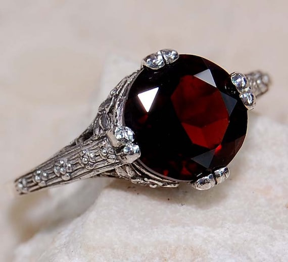 Victorian Medieval Renaissance Ruby Red Garnet By