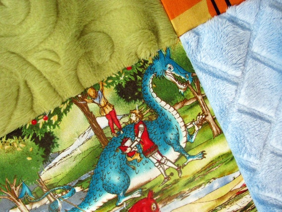 Hand Tied Baby Quilt: Knights, Castles and Dragons with Blue and Green Minky