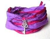Silk Wrap Bracelet in Purple & Scarlet with Key Charm