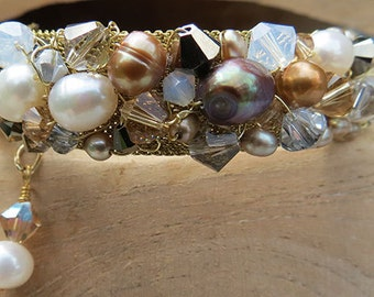 Freshwater Pearl & Crystal Wire Wrapped Bracelet