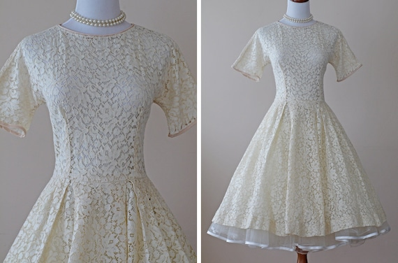 1950s Wedding Dress / 50s Dress Full Skirt // Then I Kissed Her
