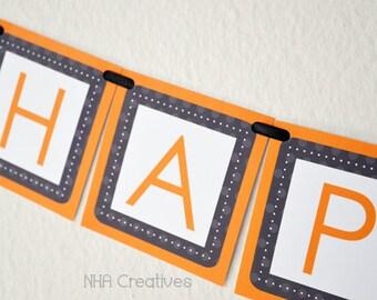 Halloween Ghost Themed Happy Birthday Banner - DIY Printable Digital File