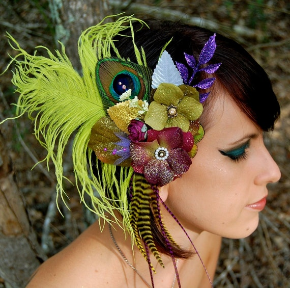 GREEN ENCHANTMENT Peacock Hair Clip