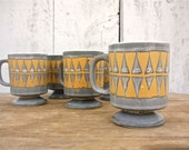 vintage midcentury scandinavian mugs / set of 5 pedestal mugs - WhiteBarnVintage