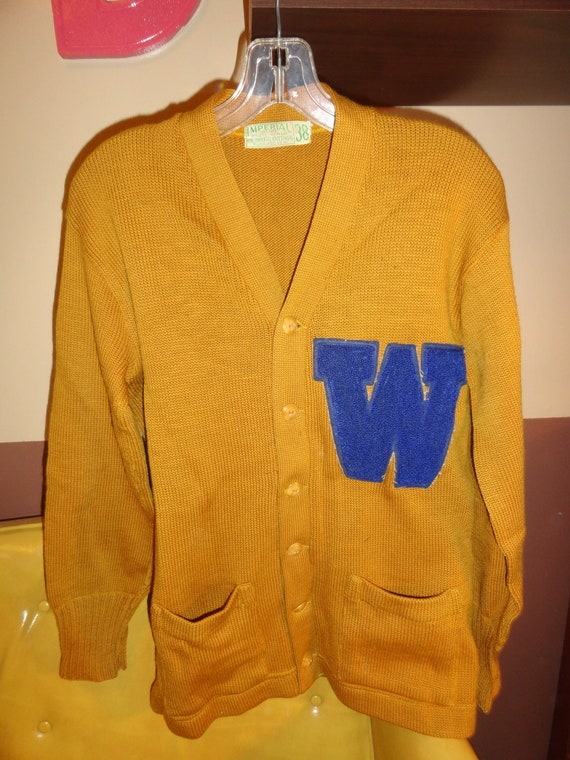 Vintage 1950s Retro High School College Letterman Gold & Blue Sweater Initial W by Imperial Knitting Art Kote