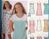 Simplicity Dress Pattern No 5234 UNCUT Girls Teens Sizes 8 1/2 to 16 1/2 Plus Size Shift Sleeveless Short or Long Sleeves Jumper Purse
