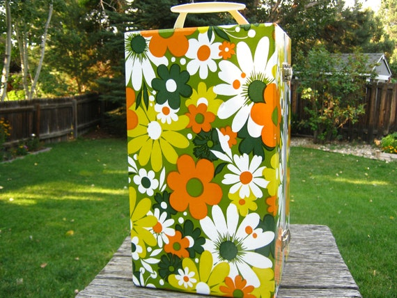 1970's Doll Clothes Trunk - Flower Power Doll Clothes Trunk - Orange Flower Doll Trunk