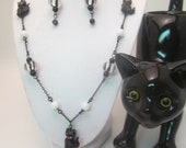Sale! Black Cat Halloween Jewelry Set, Black and White Stripes, Chain and Beads
