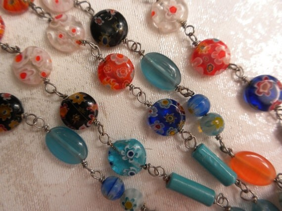 vintage millefiori necklace, bought in Italy, wonderful colors, long necklace