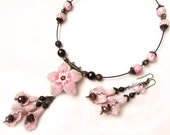 Lovely pink and brown  Polymer Clay Jewelry Set (necklace and earrings)