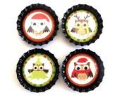 Christmas Owls Bottle Cap Magnets (Set of 4) - Christmas Decor, Refrigerator Magnet, Stocking Stuffers, Bottlecap Decor