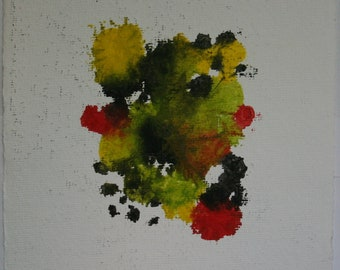 Original abstract painting, on paper, contemporary, modern, colorful, reds, yellows, oranges, greens, size 9 x 11