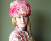 SALE .. vintage 1960s hat pink roses Queen Elizabeth Hat