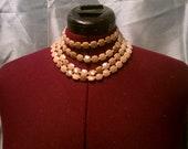 SALE- Tan beaded bib necklace