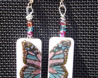 Butterfly Domino Earrings on Nickel Free Earring Wires
