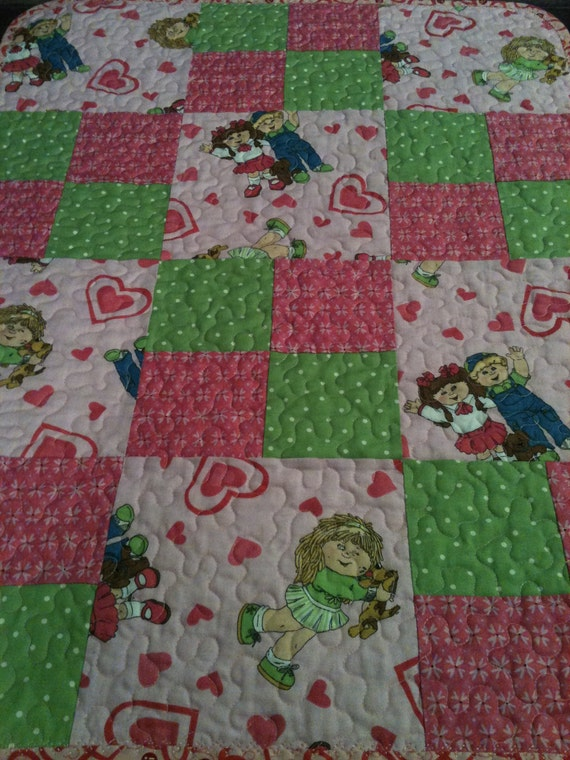 "Cabbage Patch Kids, Spring Green and Pink All Together In This 22"" X 29"" Quilt For Little Girls"