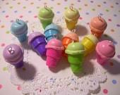 Ice Cream Cone Charms  Cute Rainbow Ice Cream Cones - Pick from 6 Colors