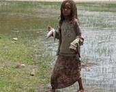 African Portrait, Village Girl, Fish Supper In Ethiopia, Shoreline, Lake Langano 7x9 International Travel Photograph
