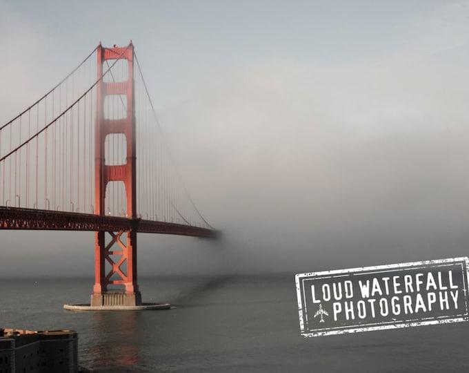Golden Gate Bridge in Fog, San Francisco, Pacific Ocean, 10x15 Travel Fine Art Photograph