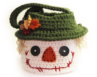 Scarecrow Basket CROCHET PATTERN instant download - bag bowl