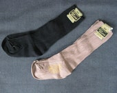 2 Pairs, Vintage Black and Tan S-T-R-E-T-C-H Socks, New Old Stock Sox
