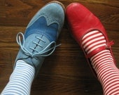 2 Pairs of Medium Striped Vintage S-T-R-E-T-C-H Socks for your Little Elves, New Old Stock Sox NAVY & RED