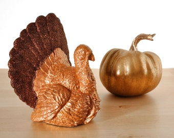 Thanksgiving Turkey Centerpiece Autumn Table Decoration Glittered Brown and Bronze with Orange for Rustic Fall Entertaining