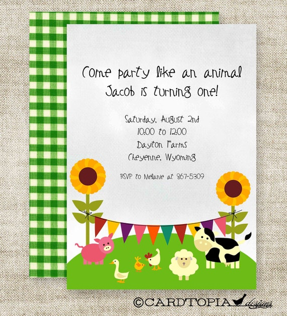 Farm BIRTHDAY PARTY Invitations Girl or Boy Printable Digital Design DIY Cards - 100430325