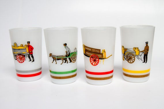 Vintage milk glass mugs with milk men