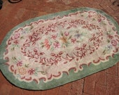 Vintage Wool Floral Handmade Hooked Green Rug Oval Shabby Cottage Farmhouse Prarie Antique Rug