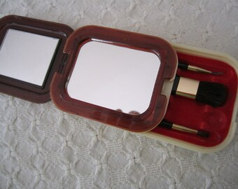 Vintage Mirror Compact and Makeup Brush holder Faux Ivory SALE