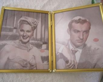 Large Double Goldtone Frame Duo Metal Hinged Frame Goldtone  8 x 10 Hollywood NOS