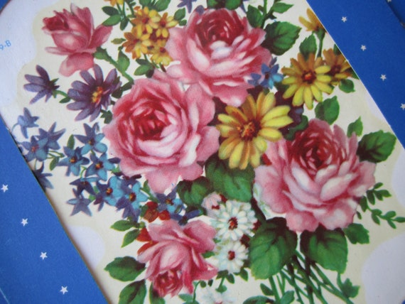 REserved Vintage Decals Floral boquet motif 40s decals cottage farm house trailer Inez