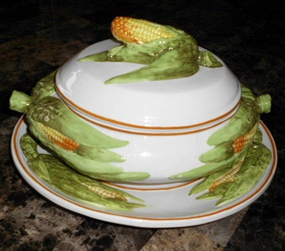 Vintage 1950s signed ITALIAN TUREEN and PLATTER
