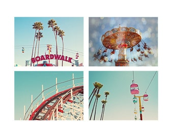 Summertime California Boardwalk Photography Print Set, Santa Cruz Beach Boardwalk Carnival Ride - Boardwalk Summers Fine Art Photograph Set