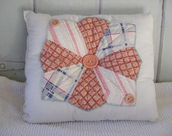 Pillow Vintage Quilt Block in Rust, Blue and Rose Fabric on Muslin Retro Colors Home Decor Accent Pillow