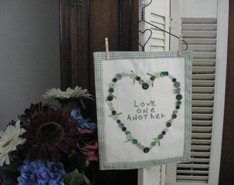 Heart Wall Hanging with Buttons Love One Another Saying Green Sage Check Home Decor