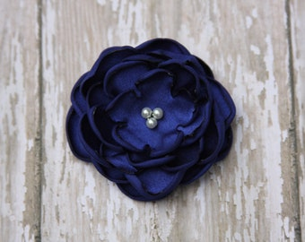 30 Colors Small Satin Flower Hair Clip, Royal Blue Flower Hair Clip