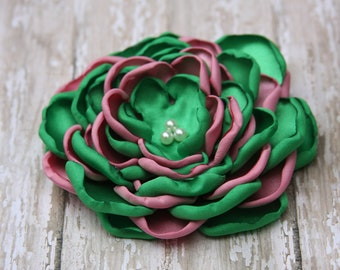 Large Kelly Green and Pink Alpha Kappa Alpha (AKA) Sorority Satin Flower Pin