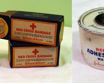 Bandage Boxes & Tin Red Cros Vintage - 3 Pieces